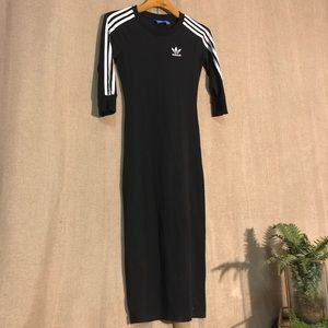 Adidas Black 3 Stripe 3/4 Dress XS